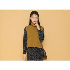 Envy Look - Turtle-Neck Rib-Knit Vest