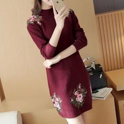 Bubbleknot - Lace Panel Knit Dress