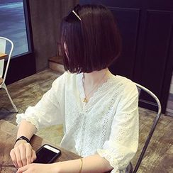 Meimei - Elbow Sleeve V-Neck Eyelet Lace Blouse