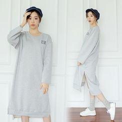 WITH IPUN - Brushed Fleece-Lined Slit-Side Dress
