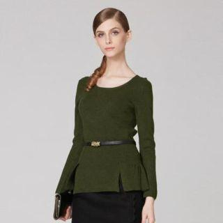 O.SA - Wool-Blend Slit-Hem Peplum Knit Top