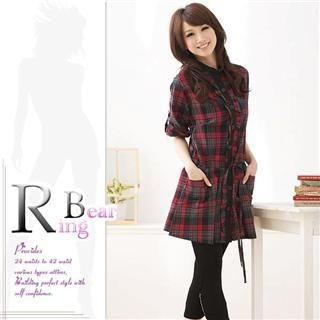 RingBear - Tab-Sleeve Plaid Shirtdress