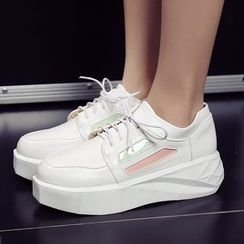 Parkwalker - Color Panel Lace Up Platform Shoes