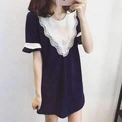 Ashlee - 山形紋拼接皺摺袖雪紡連衣裙