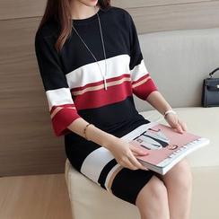 Bubbleknot - Set: Colour Block Elbow-Sleeve Knit Top + Skirt