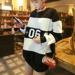 Emeline - Color Block Long Fleece Sweatshirt