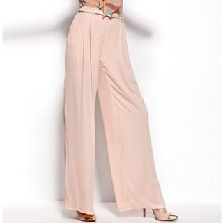 Moonbasa - Pleated Chiffon Wide-Leg Pants