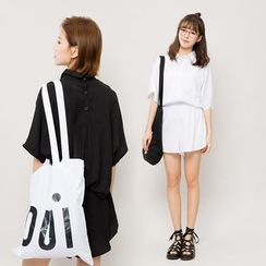 Heynew - Set: Elbow-Sleeve Shirt + Elastic Waist Shorts