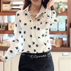LIVA GIRL - Long-Sleeve Star Print Chiffon Blouse