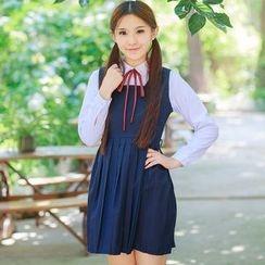 Aiyiruo - Set: Tie-Neck Blouse + Sleeveless Dress