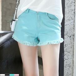 Sienne - Fray Hem Denim Shorts