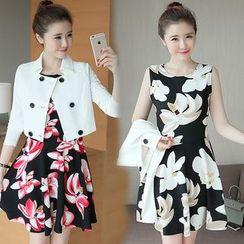 Ashlee - Set: Double-breasted Cropped Jacket + Floral Print Sleeveless Dress