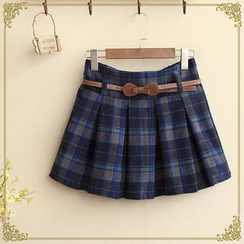 Fairyland - Set: Pleated Plaid Mini Skirt + Belt