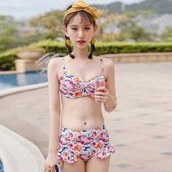 Beach Date - 套装: 钩织上衣 + 碎花比基尼