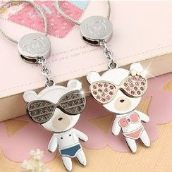 MILESI - Couple Rhinestone Metallic Cartoon Keychain