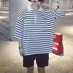 Glen Glam - 条纹垂肩马球衬衫