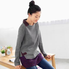 59 Seconds - Inset Check Shirt Knit Top