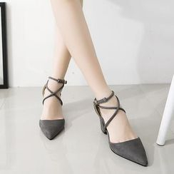 BAYO - Cross Strap Pointed Pumps