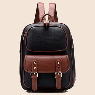 BeiBaoBao - Color-Block Faux-Leather Backpack