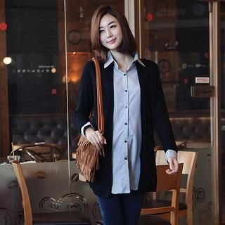 Stylementor - Inset Cardigan Shirt with Chiffon Scarf