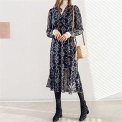 PIPPIN - Wrap-Front Flower Pattern Chiffon Long Dress