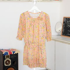 59 Seconds - Ruffle-Hem Floral Print Chiffon Dress