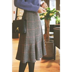 CHERRYKOKO - Plaid Wool Blend Flare Skirt