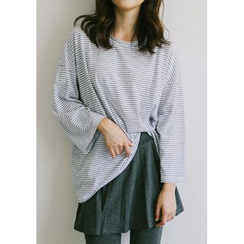 GOROKE - Drop-Shoulder Stripe Oversized T-Shirt
