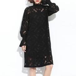 Myrtle - Set: Long-Sleeve Lace Panel Dress + Slipdress