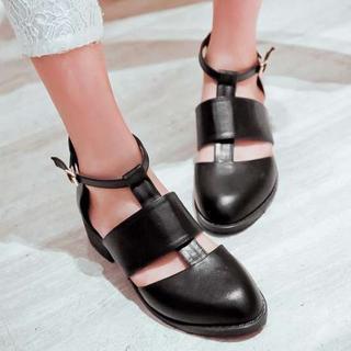 Pangmama - Ankle-Strap Cutout Flats