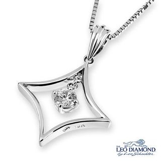 Leo Diamond - 18K White Gold Diamond Solitaire Diamond-Shaped Dangle Pendant Necklace (16')