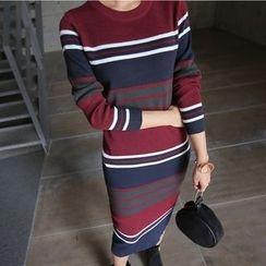 PPGIRL - Round-Neck Striped Knit Dress