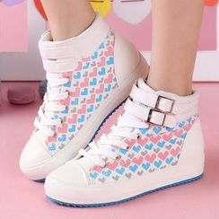 Renben - Heart Patterned Buckled High-top Sneakers