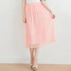 Tokyo Fashion - Check Chiffon Midi Skirt