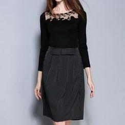 Mukouf - Set: 3/4-Sleeve Lace Panel Top + Striped Skirt