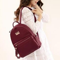 Axixi - Faux-Leather Tasseled Backpack