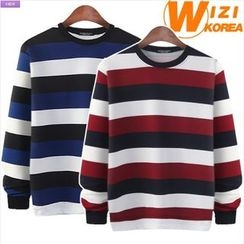 WIZIKOREA - Layered-Hem Striped Sweatshirt