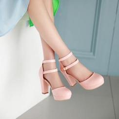 幸福鞋坊 - 踝扣帶粗跟鞋