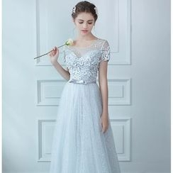 MSSBridal - Crochet Trim Short Sleeve Evening Gown