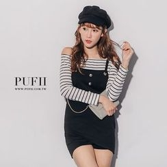 PUFII - Mock Two-Pieces Striepd Dress