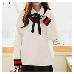 Sechuna - V-Neck Contrast-Trim Sweater