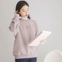 JUSTONE - Rose Embroidered Brushed-Fleece Lined Sweatshirt