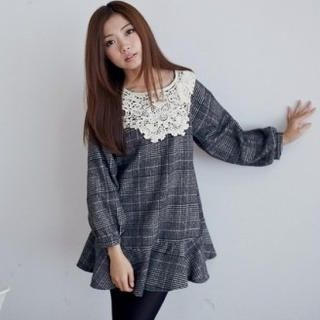 BAIMOMO - Long-Sleeve Crochet-Bib Plaid Peplum Tunic