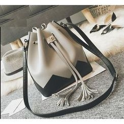 Youshine - Color Panel Tasseled Bucket Bag