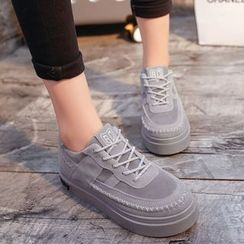 Yoflap - Platform Stitch Detailed Lace Up Sneakers