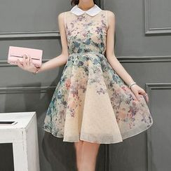 Aikoo - Sleeveless Floral Chiffon Dress