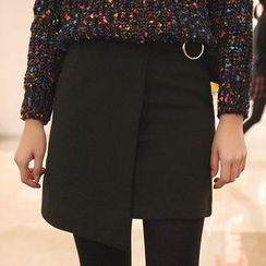 Seoul Fashion - Wool Blend Wrap-Front Buckled Skirt