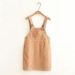 PANDAGO - Corduroy Embroidered Jumper Skirt