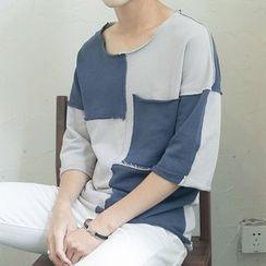V37 - Elbow-Sleeve Color Block T-Shirt