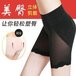 Giselle Shapewear - 硅膠假臀墊網布五分褲